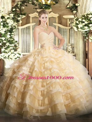 Champagne Organza Lace Up 15th Birthday Dress Sleeveless Floor Length Beading and Ruffled Layers