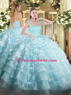 Noble Ball Gowns Quinceanera Dress Light Blue Straps Organza Sleeveless Floor Length Zipper