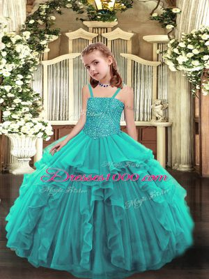 Teal Ball Gowns Beading and Ruffles Little Girls Pageant Gowns Lace Up Organza Sleeveless Floor Length