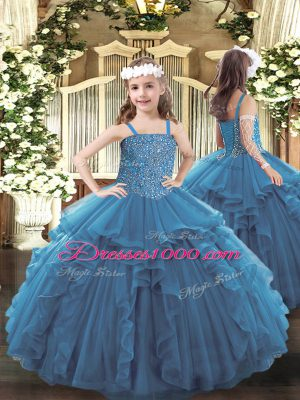 Dazzling Tulle Straps Sleeveless Lace Up Beading and Ruffles High School Pageant Dress in Teal