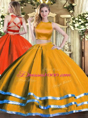Admirable Orange Two Pieces High-neck Sleeveless Tulle Floor Length Criss Cross Ruching Sweet 16 Quinceanera Dress