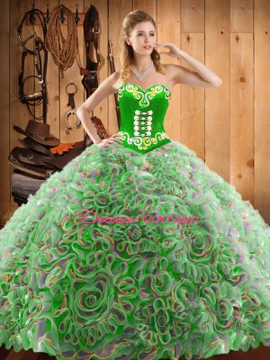High End Multi-color Satin and Fabric With Rolling Flowers Lace Up Quinceanera Gowns Sleeveless With Train Sweep Train Embroidery