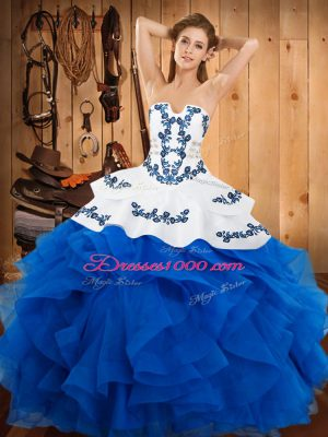 New Style Blue Sleeveless Satin and Organza Lace Up 15 Quinceanera Dress for Military Ball and Sweet 16 and Quinceanera