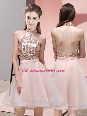 Mini Length Backless Quinceanera Dama Dress Baby Pink for Prom and Party and Wedding Party with Sequins