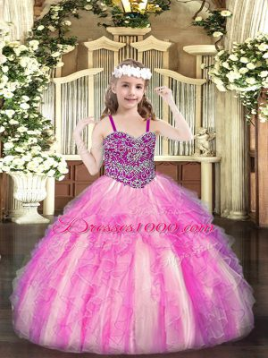 Rose Pink Sleeveless Organza Lace Up Casual Dresses for Party and Quinceanera