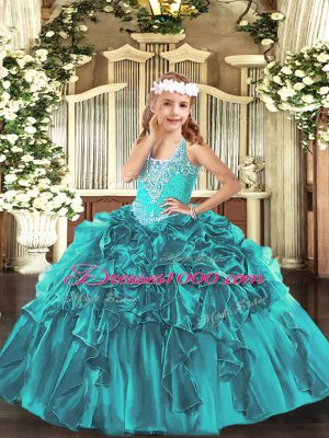 Floor Length Lace Up Little Girl Pageant Dress Teal for Party and Quinceanera with Beading and Ruffles