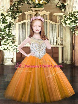 Gorgeous Orange Zipper Winning Pageant Gowns Beading Sleeveless Floor Length