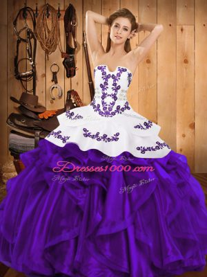 Captivating Purple Quinceanera Gown Military Ball and Sweet 16 and Quinceanera with Embroidery and Ruffles Strapless Sleeveless Lace Up