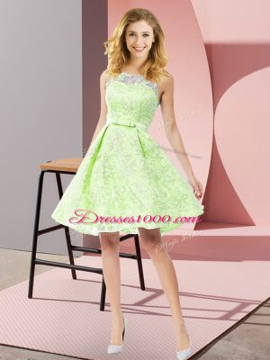 Delicate Knee Length Yellow Green Dama Dress for Quinceanera Scoop Sleeveless Zipper