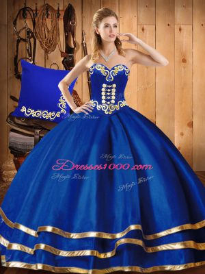 Sleeveless Organza Floor Length Lace Up Quinceanera Gown in Blue with Embroidery