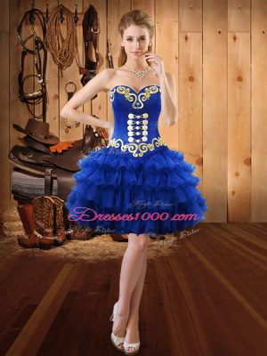 Fashion Royal Blue Sweetheart Neckline Embroidery and Ruffled Layers Evening Dress Sleeveless Lace Up