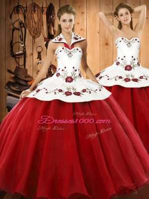 Flare Embroidery Sweet 16 Quinceanera Dress Wine Red Lace Up Sleeveless Floor Length