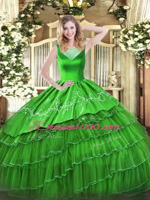 Ball Gowns Sweet 16 Dress Scoop Organza Sleeveless Floor Length Side Zipper