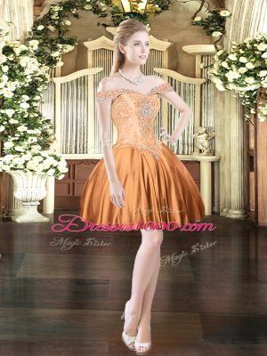 Sweet Orange Red Party Dress for Toddlers Prom and Party with Beading Off The Shoulder Sleeveless Lace Up