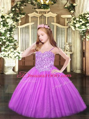Appliques High School Pageant Dress Lilac Lace Up Sleeveless Floor Length