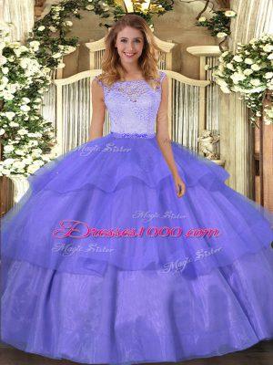 Fabulous Floor Length Ball Gowns Sleeveless Lavender Sweet 16 Dress Clasp Handle