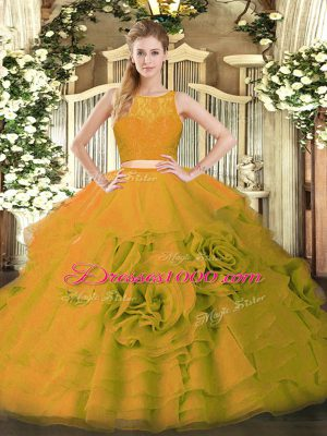Trendy Olive Green Sleeveless Ruffles Floor Length Quinceanera Gown
