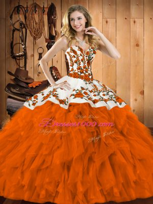 Excellent Sleeveless Floor Length Embroidery and Ruffles Lace Up Ball Gown Prom Dress with Rust Red