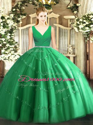 Chic Green Tulle Zipper V-neck Sleeveless Floor Length 15th Birthday Dress Beading