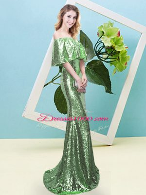 Cute Strapless Half Sleeves Prom Party Dress Floor Length Sequins Sequined