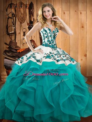 Teal Sweetheart Neckline Embroidery and Ruffles Vestidos de Quinceanera Sleeveless Lace Up