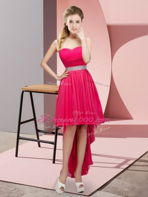 Noble Hot Pink Chiffon Lace Up Bridesmaid Gown Sleeveless High Low Beading