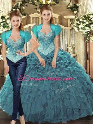 Perfect Straps Sleeveless Vestidos de Quinceanera Floor Length Beading and Ruffles Teal Tulle