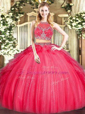 Floor Length Two Pieces Sleeveless Red 15 Quinceanera Dress Zipper