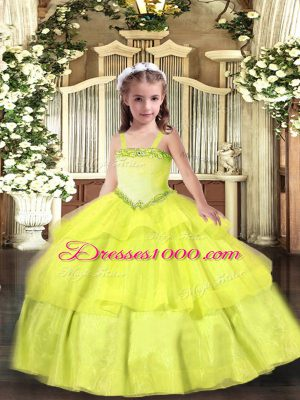 Luxurious Sleeveless Organza Floor Length Lace Up High School Pageant Dress in Yellow with Appliques and Ruffled Layers