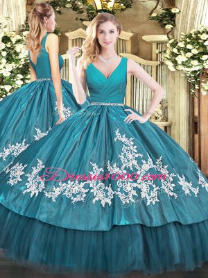 Customized Teal Sleeveless Floor Length Beading and Appliques Zipper 15 Quinceanera Dress