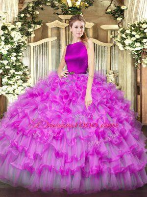 Customized Fuchsia Ball Gowns Organza Scoop Sleeveless Ruffled Layers Floor Length Clasp Handle Sweet 16 Dress