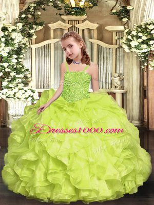 Custom Fit Straps Sleeveless Lace Up Party Dress Wholesale Yellow Green Organza