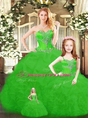 Spectacular Floor Length Sweet 16 Dresses Tulle Sleeveless Beading and Ruffles