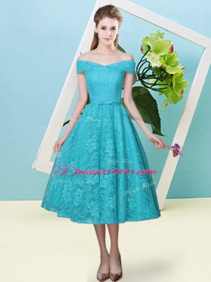Decent Cap Sleeves Tea Length Bowknot Lace Up Damas Dress with Teal