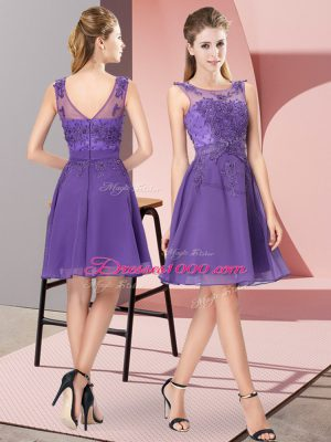 Sweet Empire Vestidos de Damas Lavender Scoop Chiffon Sleeveless Knee Length Zipper