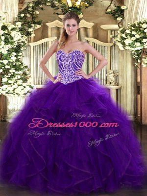 Latest Purple Sleeveless Floor Length Beading and Ruffles Lace Up Sweet 16 Dresses