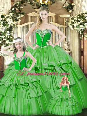 Romantic Organza Sweetheart Sleeveless Lace Up Beading and Ruffled Layers Quinceanera Gown in Green
