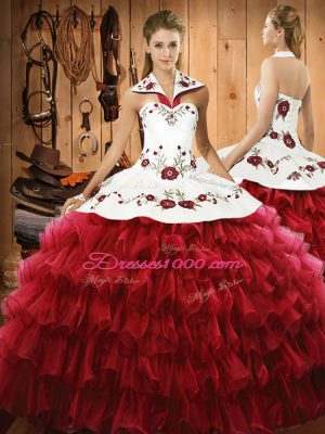 Wine Red 15 Quinceanera Dress Military Ball and Sweet 16 and Quinceanera with Embroidery and Ruffled Layers Halter Top Sleeveless Lace Up