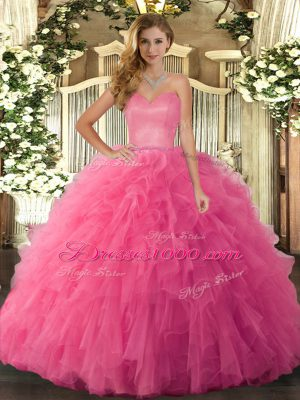 Luxurious Hot Pink Lace Up Sweetheart Ruffles Quinceanera Gown Tulle Sleeveless
