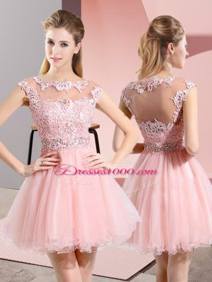 Baby Pink Side Zipper Bridesmaid Gown Beading and Lace Sleeveless Knee Length