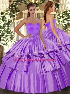 Dynamic Floor Length Lilac Quinceanera Gowns Organza and Taffeta Sleeveless Beading and Ruffled Layers
