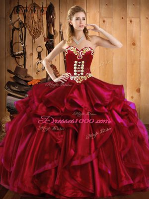 Fabulous Wine Red Sleeveless Embroidery and Ruffles Floor Length Quinceanera Dress