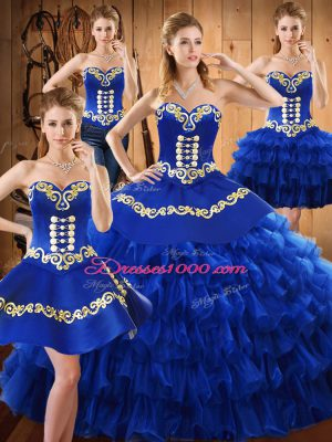 Blue Lace Up 15th Birthday Dress Embroidery and Ruffled Layers Sleeveless Floor Length