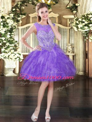 Luxury Scoop Sleeveless Lace Up Party Dress for Toddlers Lavender Tulle