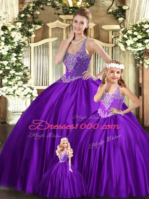 Straps Sleeveless Sweet 16 Dresses Floor Length Beading Purple Organza