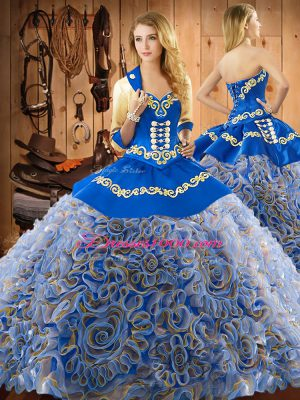 Multi-color Lace Up Sweet 16 Dresses Embroidery Sleeveless With Train Sweep Train