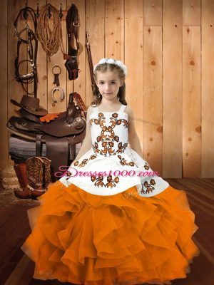 Orange Ball Gowns Straps Sleeveless Organza Floor Length Lace Up Embroidery and Ruffles Little Girl Pageant Dress