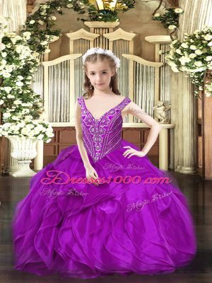 Enchanting Purple Ball Gowns V-neck Sleeveless Organza Floor Length Lace Up Beading and Ruffles Glitz Pageant Dress