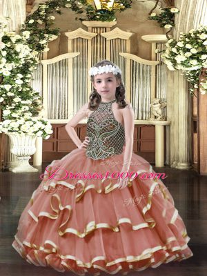Discount Rust Red Ball Gowns Beading and Ruffled Layers Girls Pageant Dresses Lace Up Organza Sleeveless Floor Length