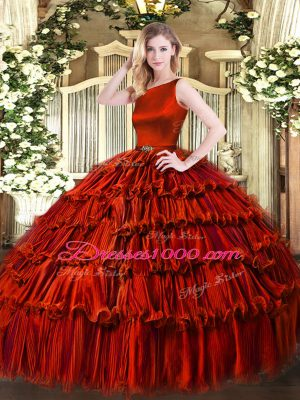 Wine Red Sleeveless Organza Clasp Handle Quince Ball Gowns for Military Ball and Sweet 16 and Quinceanera